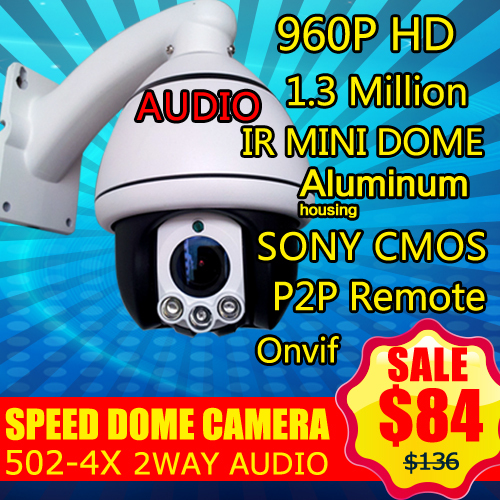 502-4X two way audio Zoom 960P 1.3MP IR-CUT HD Network IP CCTV PTZ Speed Dome Camera Support Onvif P2P Mobil Monitor(China (Mainland))
