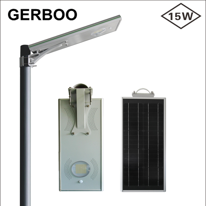 Golden Supplier Aluminum Housing All in One Solar Street Lights with 15 watt Led Solar Street Lights All In One With PIR Motion(China (Mainland))
