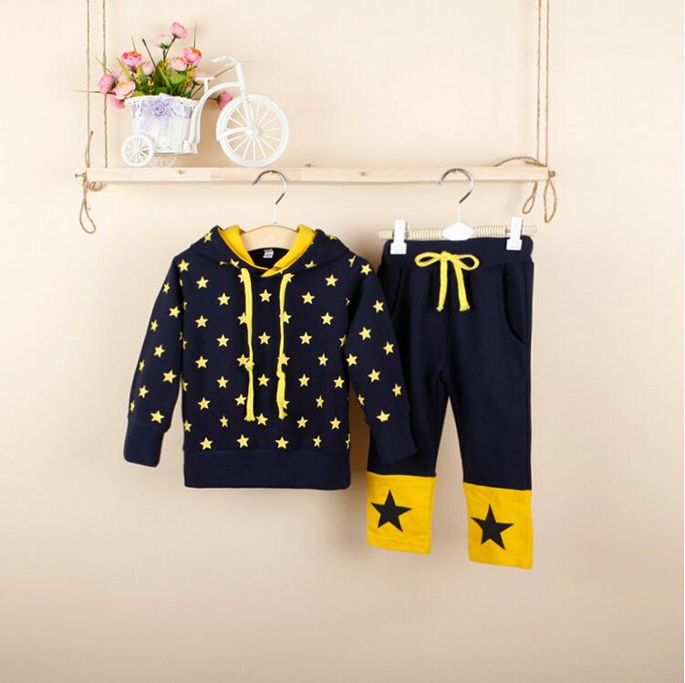 2015 New children hooded coat+pants baby girls & boys clothing kids clothes Autumn outfit stars cartoon Sports Sets - The only flagship store