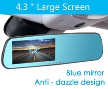 Low price 4.3″ screen Blue car dvr rearview mirror Full HD 1080P 140 degree auto dvrs parking recorder video dvr recorder