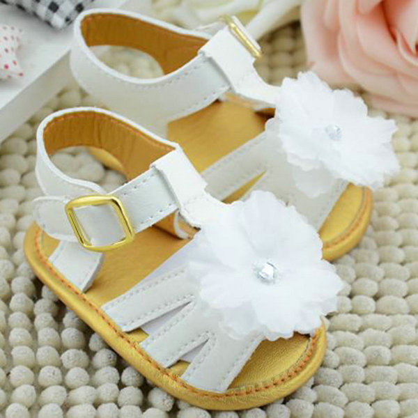 Baby Summer White Flower Sandals Infant Girls Soft Sole Princess Shoes Prewalker 0-18 months(China (Mainland))