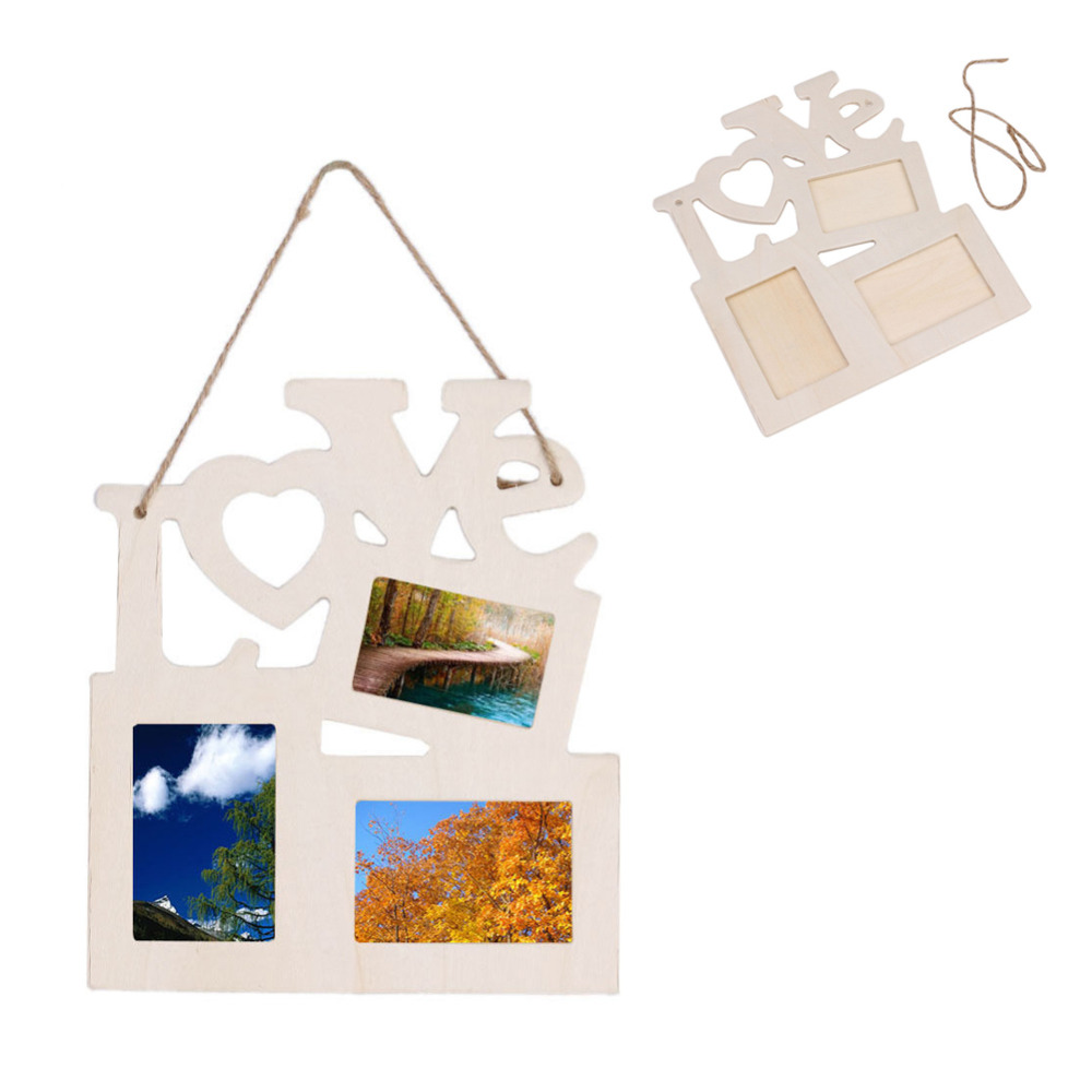 Hot love wooden photo frame with 3 wood picture frame diy for Home decor gifts