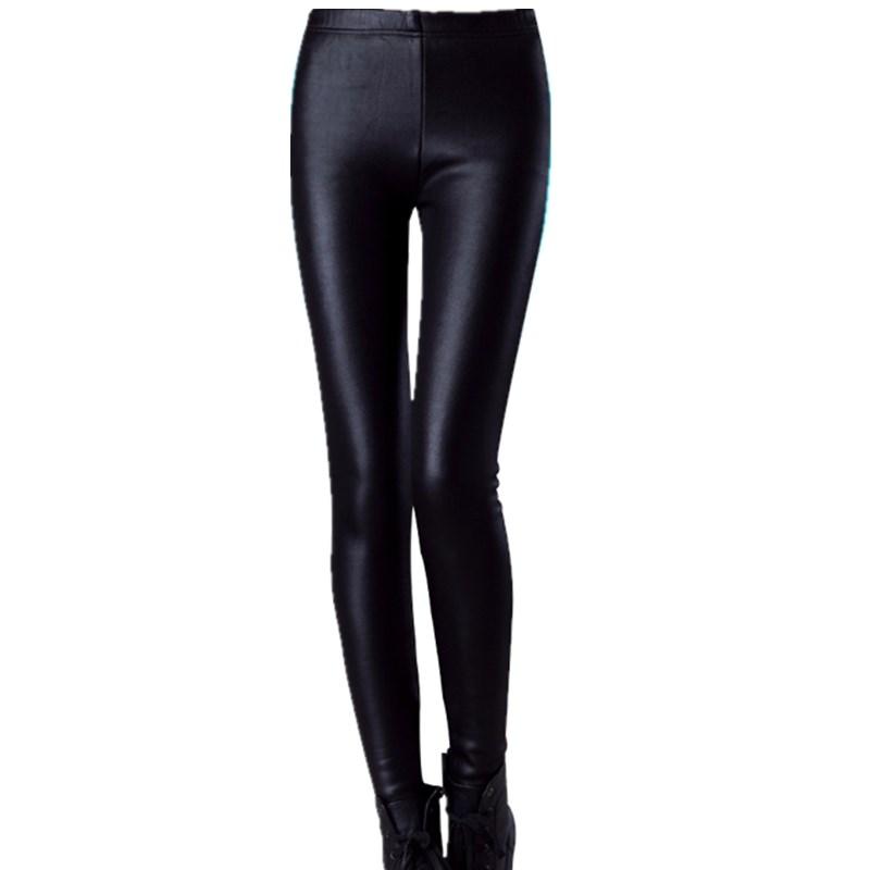 Women's and girl's Imitation Leather Slim Leggings big yards Lederhosen S M L XL XXL XXXL nine points Middle waist Pants(China (Mainland))