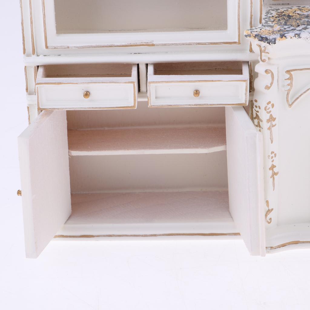 Luxury Miniature Wood Display Cabinet 1//12 Dollhouse Furniture Accessories