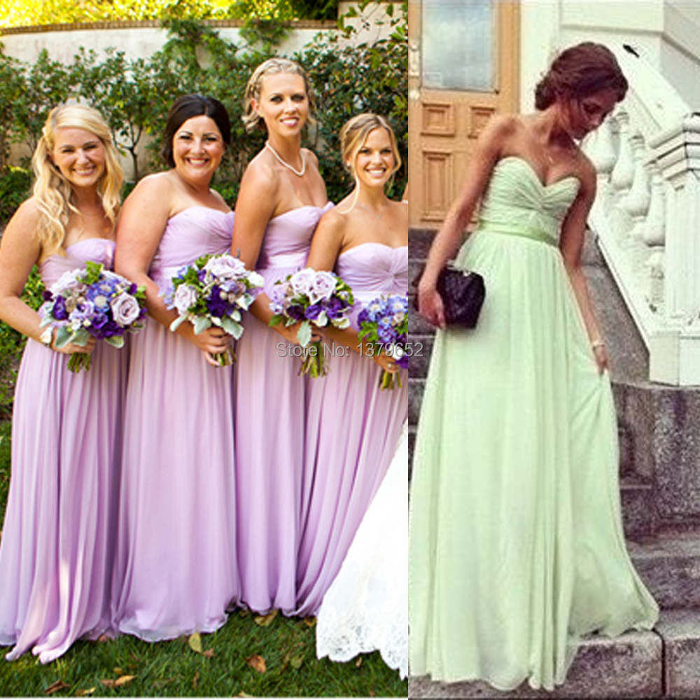 2015 strapless mint green lilac purple bridesmaid dresses for Maid of honor wedding dresses