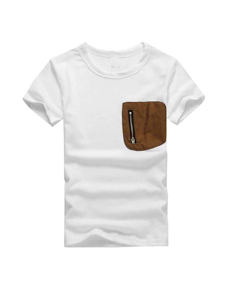 Summer Kids Boys T Shirt Original Single Patch Pocket