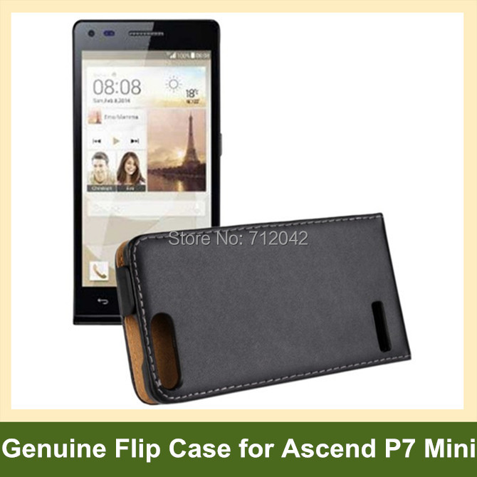 Black Genuine Leather Flip Cover Case for Huawei Ascend P7 Mini with Magnetic Snap 10pcs/lot Free Shipping