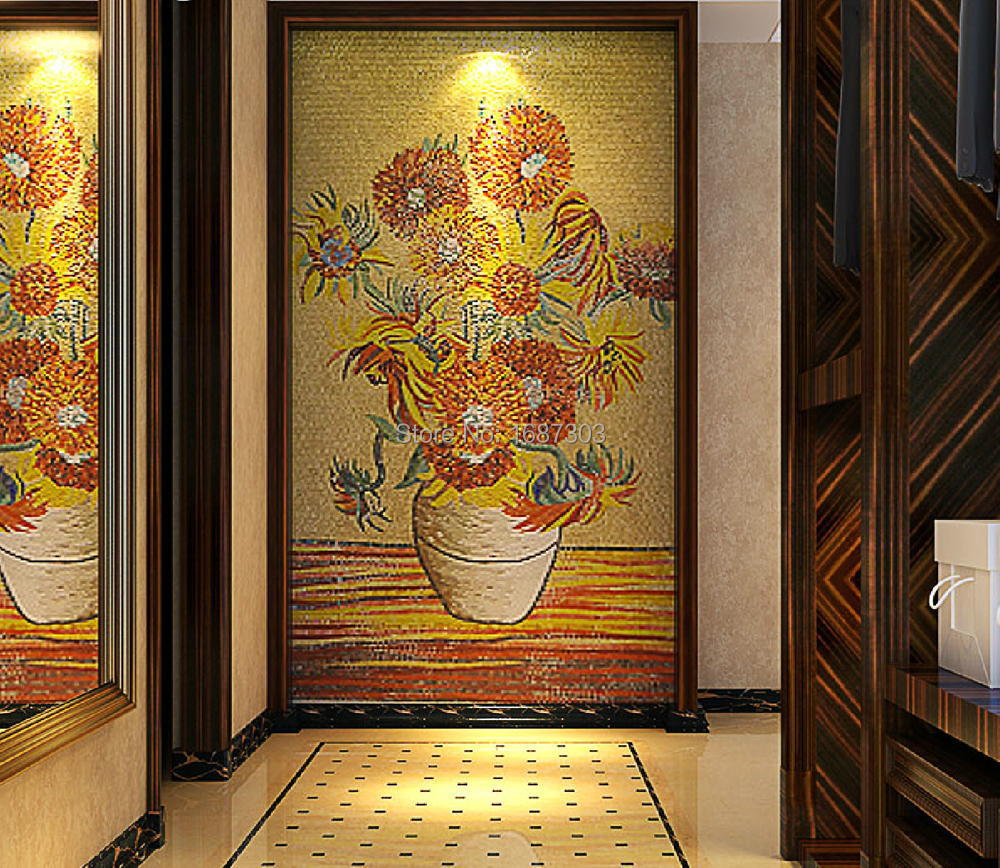 Luxury 100 hand cut art hibiscus glass mosaic mural home for Art deco tile mural