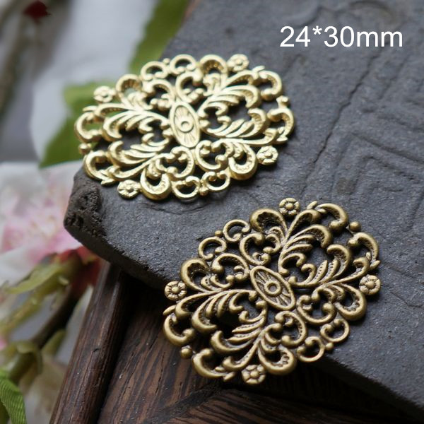 Free Shipping - 35 pcs Oblong Filigree Findings 24*30mm Brass / Bronze Made of Copper Good Quality(China (Mainland))