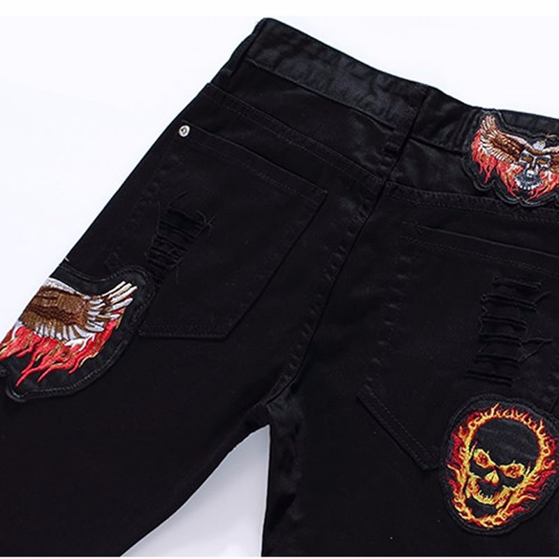 New  Men Skull Embroidery Black Trousers Fashion Slim Pencil Pants