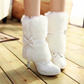 Boots PU winter white pink wedding shoes bridal medium leg plus size 40 41 42 high