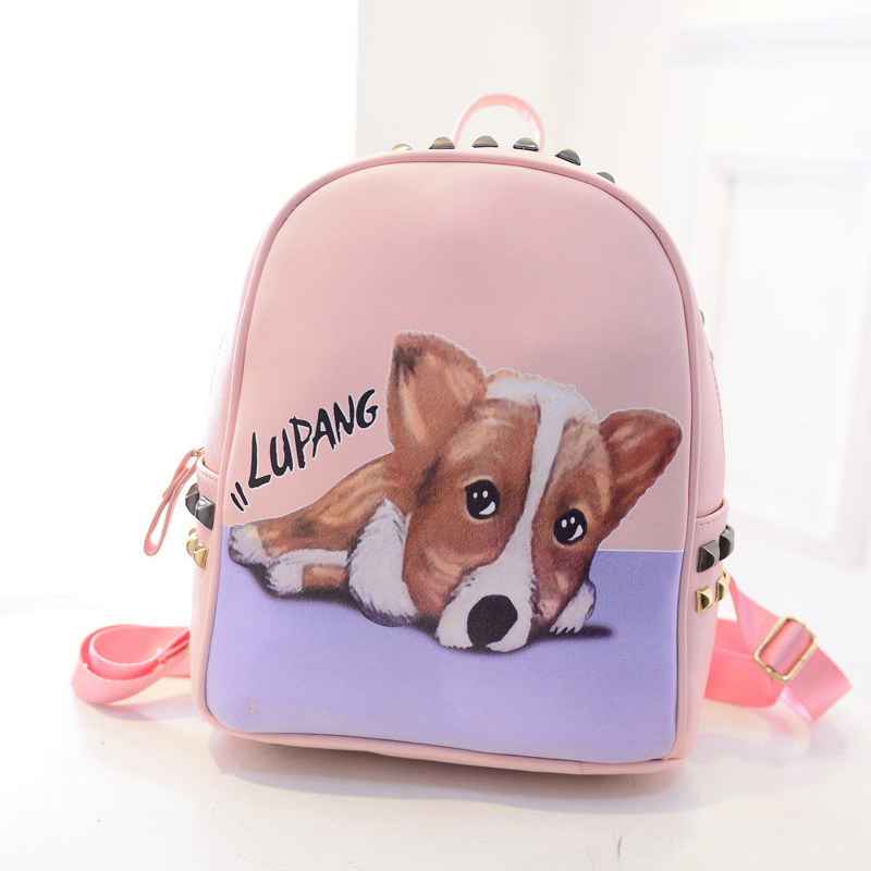 -Backpack-With-Cartoon-Puppy-PU-Bags-Lady-Casual-Backpack-Girl-School ...