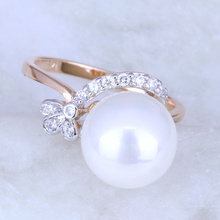 Banquet Attract Design White Pearl & Cubic Zirconia 18K Multi-tone Gold Plated Rings for Women X0208(China (Mainland))