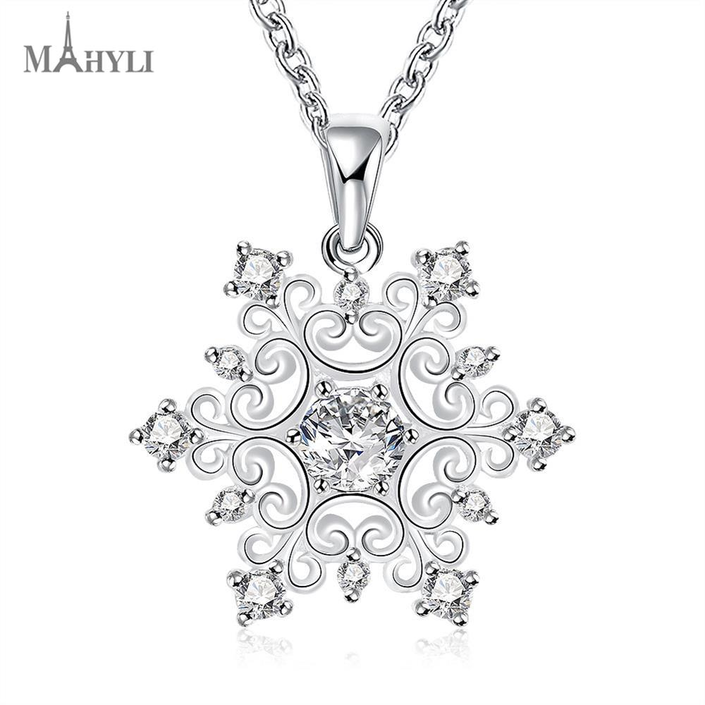 MAHYLI 925 silver snowflake flower Pendant white silver choker Necklace For women Men Women Stainless Steel wedding Jewelry(China (Mainland))