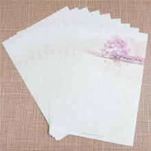 8 Pcs/ Pack Chinese Style Cherry Blossom Festival Letter Paper Vintage Watercolor Writing Paper Free Shipping(China (Mainland))