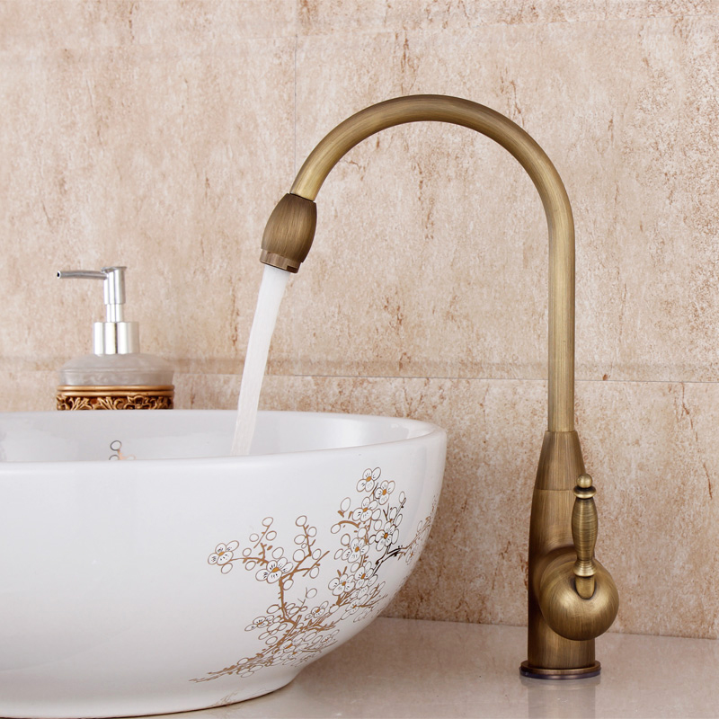 2016 Lanos Bathroom Faucet Copper Single Hole Basin Wash Antique Faucet Vintage Rotating Hot And Cold Kitchen Sink Vegetables(China (Mainland))
