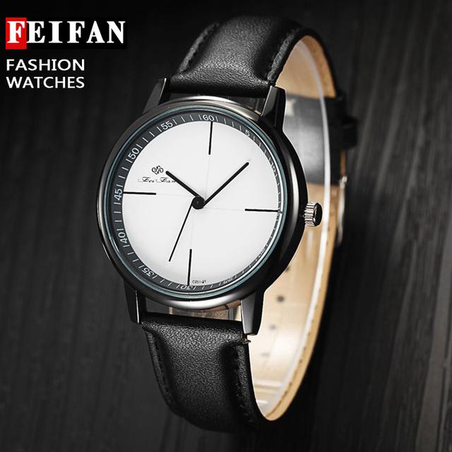 Zegarek damski FEIFAN skórzana opaska geometryczny kolory