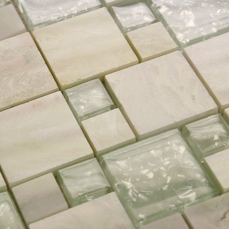 Stone Glass Tile Mirror Square Wall Tile Backsplash Discount Bathroom Shower Design Art Crystal