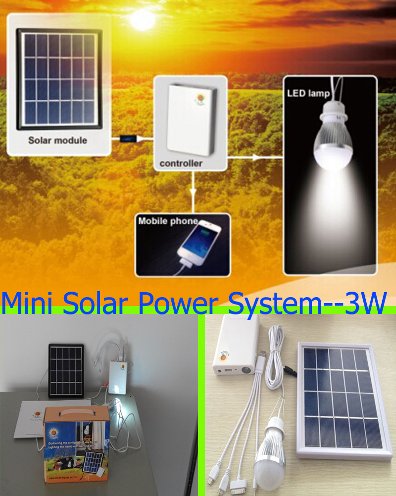 Promotions Portable 3W Mini Solar Power System Solar Chargers Lamp For Home and Camping Lamp Cycling Road Trips Smart Phones(China (Mainland))