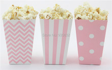 24pcs/lot 11.5*7*5cm pink  Mini Popcorn Boxes Candy box birthday party popcorn boxes bag for Party favor(China (Mainland))