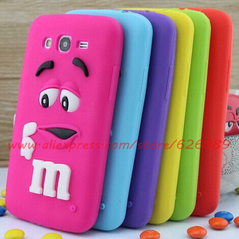 Cute M&M'S Chocolate Candy Soft Rubber Cell Phone Case Cover For Samsung Galaxy Grand Duos i9082(China (Mainland))