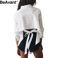 BeAvant Cool backless bow white blouse shirt Cotton chic long sleeve summer blouse 2016 striped sexy blusas casual women tops