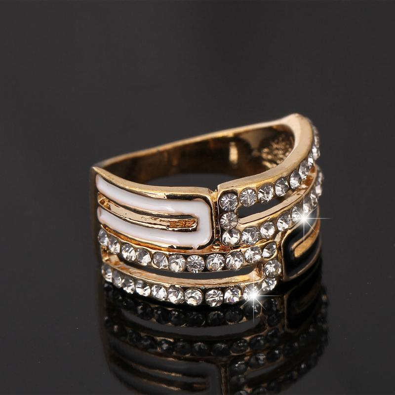2015 Fashion Vintage Wedding Rings 18K Gold Plated Clear Zircon Crystal Black/White Enamel Engagement Rings for couple Jewelry(China (Mainland))
