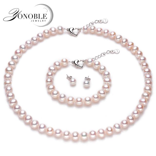 Свадебные комплекты ювелирных изделий природный жемчуг комплект ювелирных изделий невесты, искусственный жемчужное ожерелье ювелирные наборы conjuntos joyas де perlas