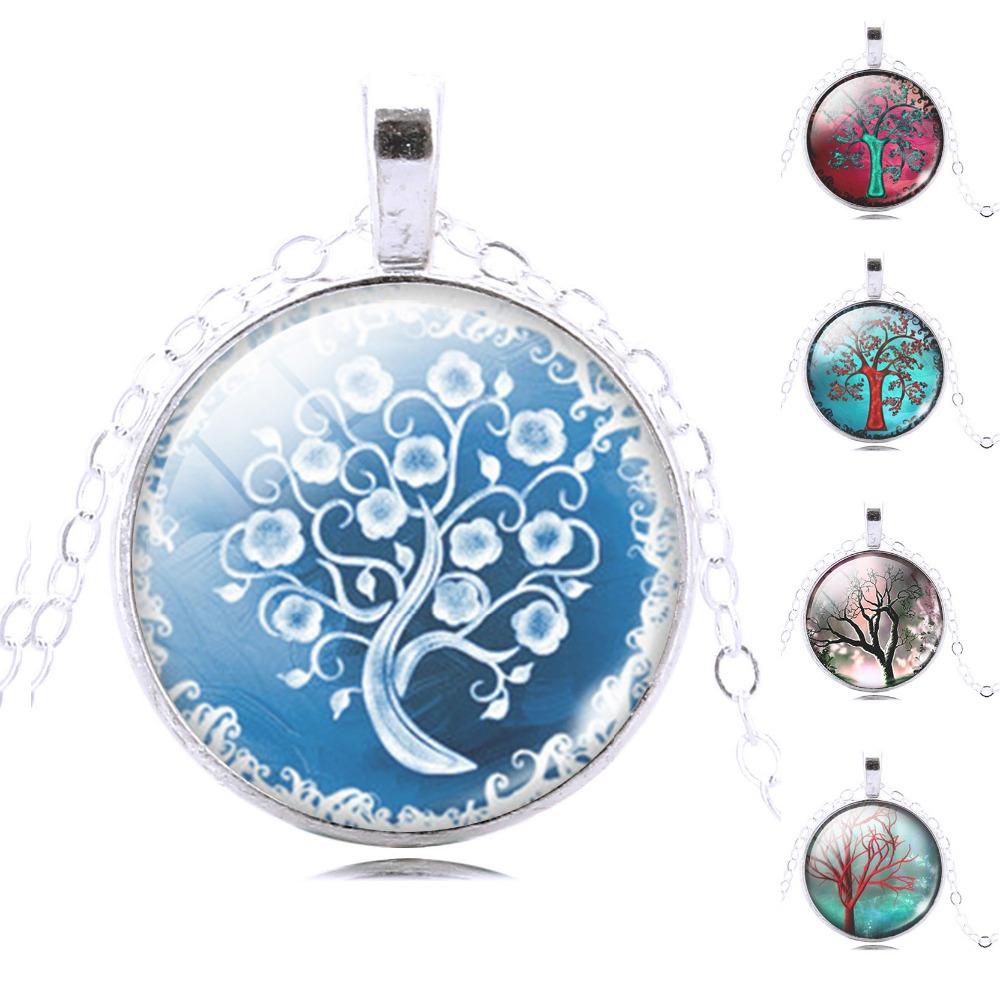 vintage life tree Snow Snowman pendant necklace glass cabochon sterling silver statement statement necklace jewelry for women(China (Mainland))