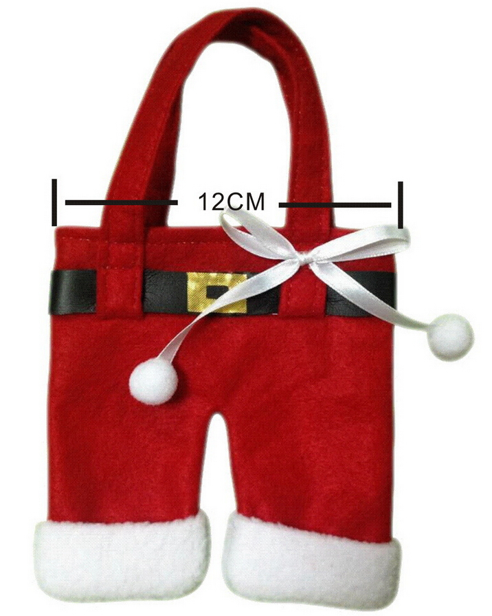 Hot Sale 3 size Fashion Christmas Santa Pants Elf Spirit Candy Bags Xmas Decoration Sack Cute Child Gift Soft Cloth Red(China (Mainland))