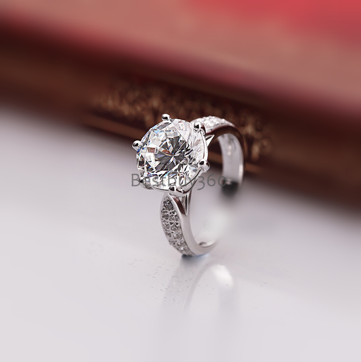 Brand new original 3 carat 6 prongs pure 925 silver  simulation NSCD sona man made diamond ring US size from 4 to 10.5<br><br>Aliexpress