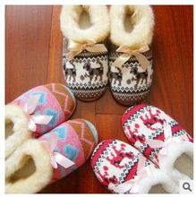 Wool Home Slippers  Winter The New Plush Ultra-Warm Slippers Deer Snow Print Lovers Of Cotton Slippers For Women(China (Mainland))