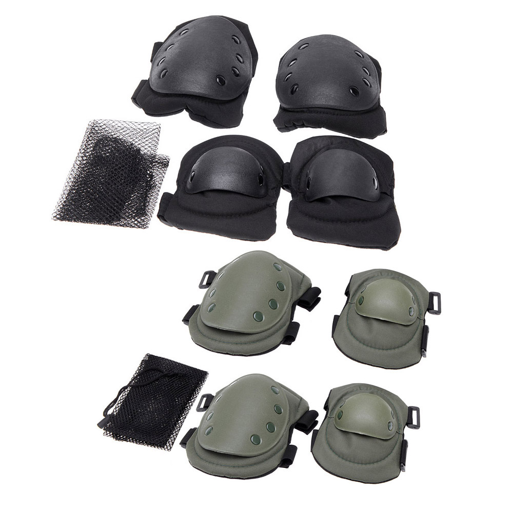4Pcs/lot Outdoor Adults Sports Tactical Knee Elbow Protective Pads Skating Skiing Climbing Kneepad with Mesh Carry 1lot(China (Mainland))