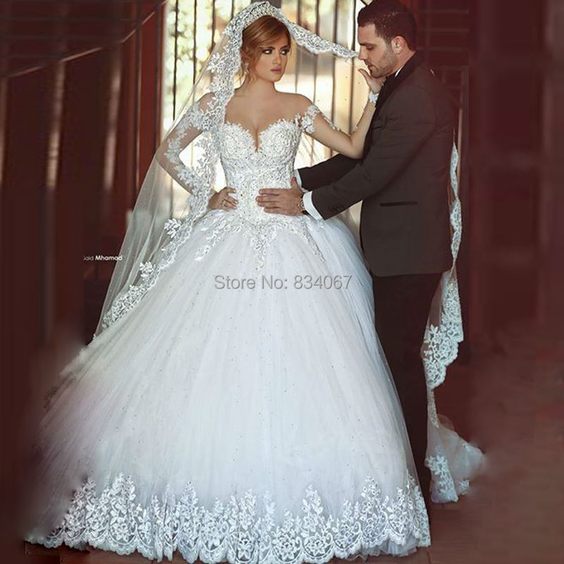 Wedding Ball Gowns For   In South Africa : Ball gown lace appliques bridal wedding dress gowns in dresses