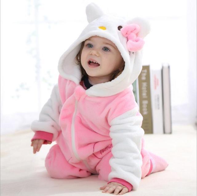 Baby rompers 2016 мальчиков пижамы девушки одежда для новорожденных Hello kitty Мультфильм Комбинезон Пижамы теплый симпатичные животные macacao bebe YJY11