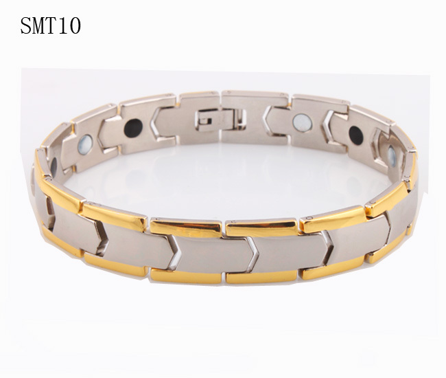 Gold plated power magnetic steel men's bracelet health germanium 316L Stainless Steel man Bracelets bangles Fashion men jewelry - ZZ Jewelry store