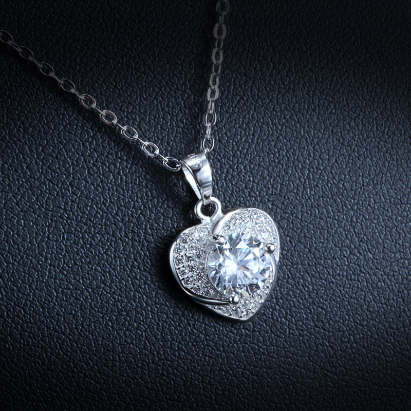 Beautiful Bling Wedding Jewelry Big Zircon Stone Women Pendant,Sterling Silver Heart Design Pendant - LCC Fashion & Accessory store