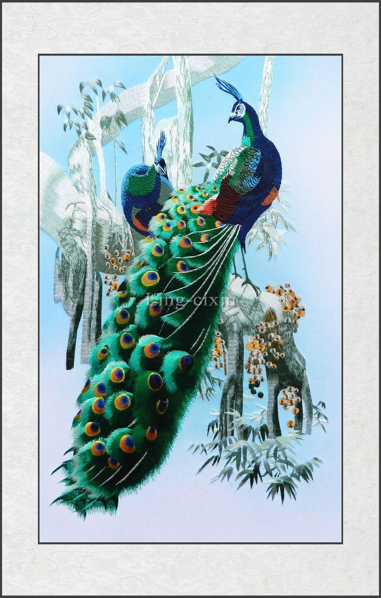 Suzhou silk embroidery peacock soft framed adornment