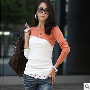 2015 autumn winter new fashion patchwork women shirt Korean style full sleeve shirt all-match elastic cotton blouses C0178(China (Mainland))