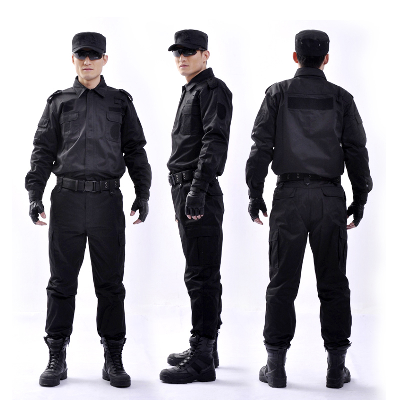SWAT Black Uniform Military Police Clothing Contton Combat Training Wearresistant Durable Security Guard Safety Suit Uniform(China (Mainland))