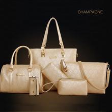 2016 New Arrival Small and Big Diamond Lattice 6 sets Women Bags Fashion Shoulder Bag+Tote+Lady Handbag+Wallet+Card bag BG03-2