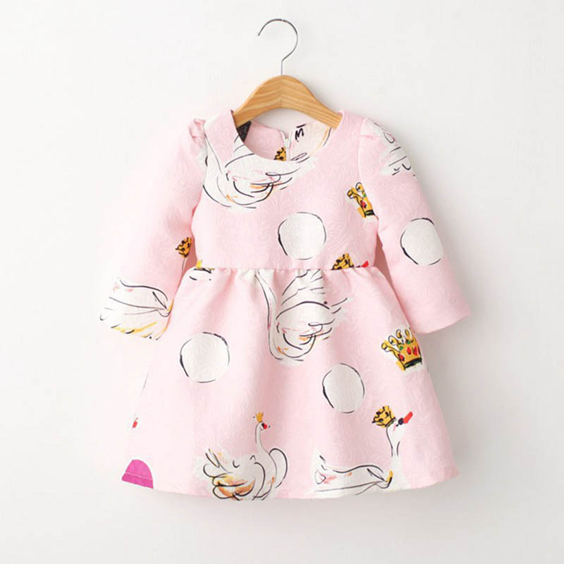Long sleeve baby girl dress 2016 autumn fall swan girls baby dresses 2016 long sleeve fashion 2016 long sleeve baby girl dresses(China (Mainland))