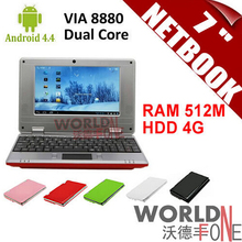 "7inch 7"" Netbook Mini Laptop VIA8880 Dual Core PC Android 4.4.2 1.5GHz Wifi 512M RAM 4GB HDD HDMI (Russian Keyboard Option)(China (Mainland))"