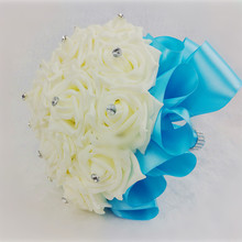 ( 5 day free shipping) OEM High quality customized crystal silk PE rose flower wedding bouquet blue bridal bouquet supplies(China (Mainland))