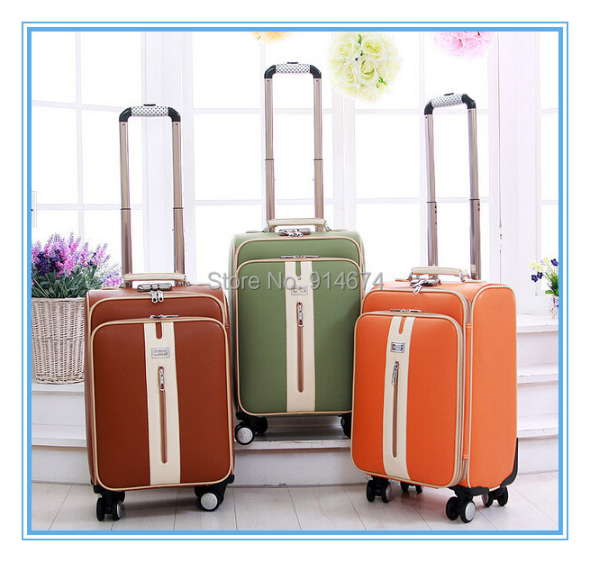 Free shipping !! high quality PU leather trolley luggage travel bag small suitcase, 20, 24 inch(China (Mainland))