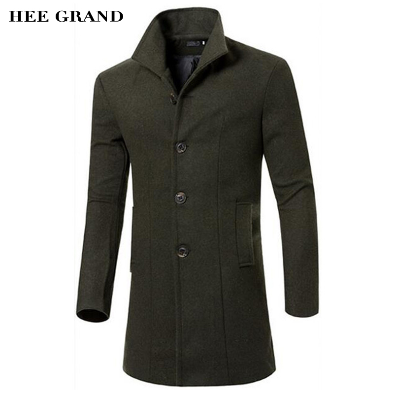 HEE GRAND Men's Wool Coat Hot Sale Fashion Autumn Winter Slim Stand Collar Casual Jacket M-3XL Size 5 Colors MWN207(China (Mainland))