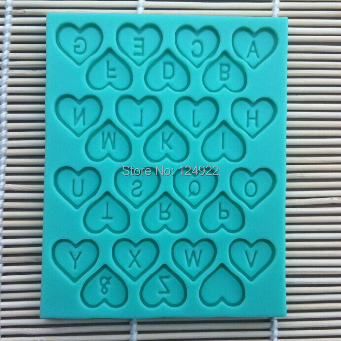 Wholesale 10 Pcs/lot Heart Alphabet 100% Food-Grade Silicone Baking Molds, Cake Fondant Decorating Tools, Silicone Soap Molds