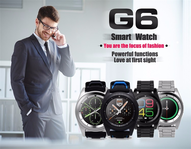 2016 New Smart Watch G6 Smartwatch heart rate monitor Clock Smart watch Android  Bluetooth Watch for iphone android phone