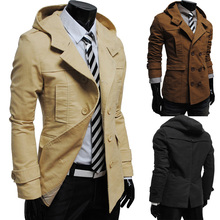Free shipping on the new winter fashion more men jacket pockets, PU stitching leisure coat, jacket collar cultivate morality(China (Mainland))