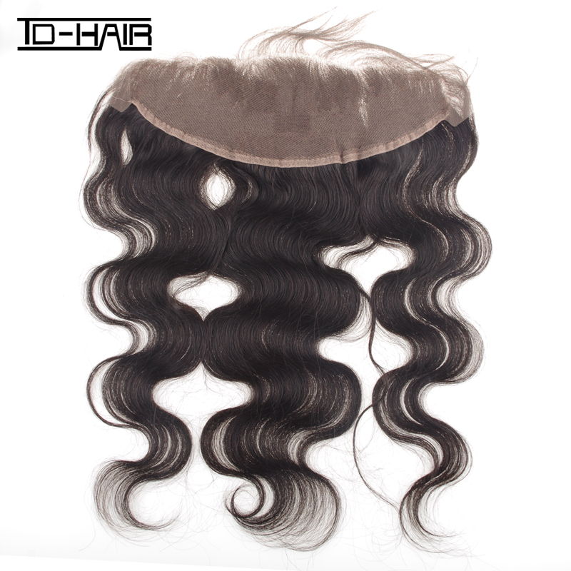 "Фотография Brazilian Virgin Remy Hair Body Wave Top Lace Frontal Closure 4""*13"" Human Hair natural color 1b# TD-HAIR Gifts For Girls"